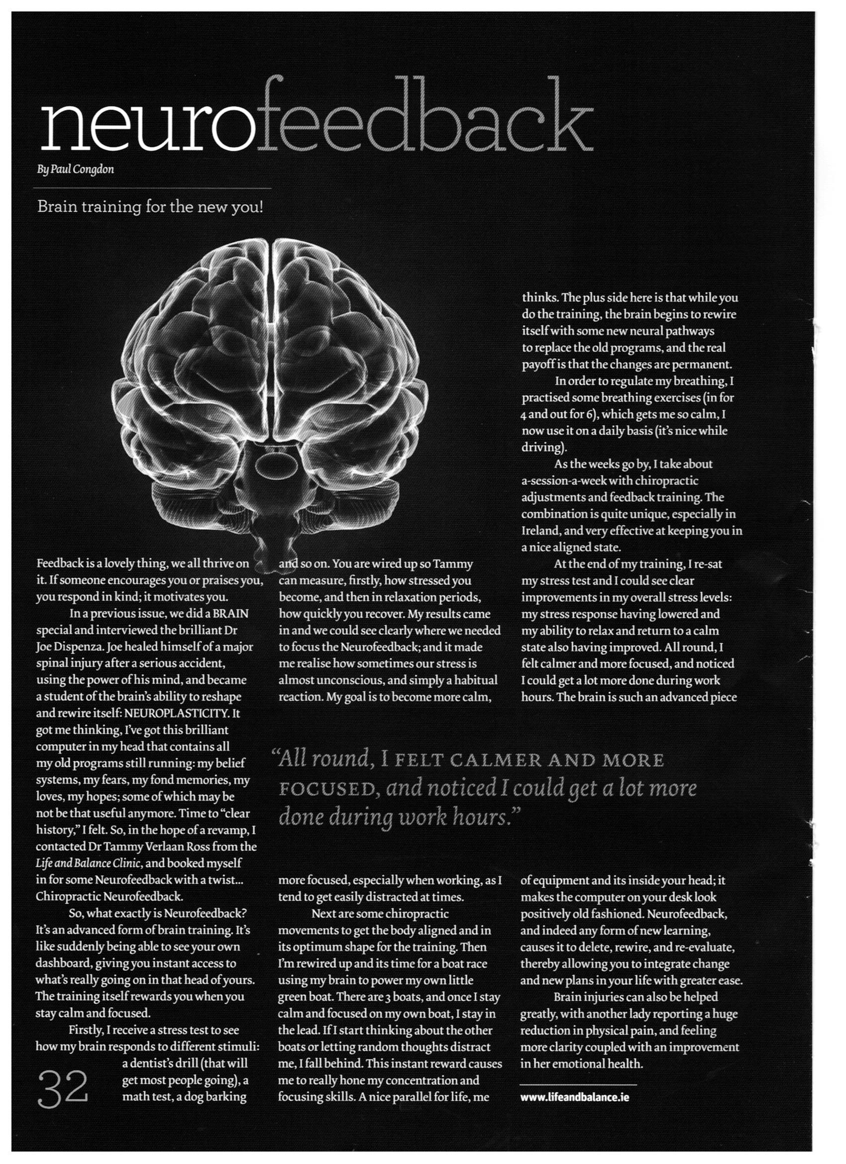 Positive Life magazine on Chiropractic and Neurofeedback at Life and Balance Centre